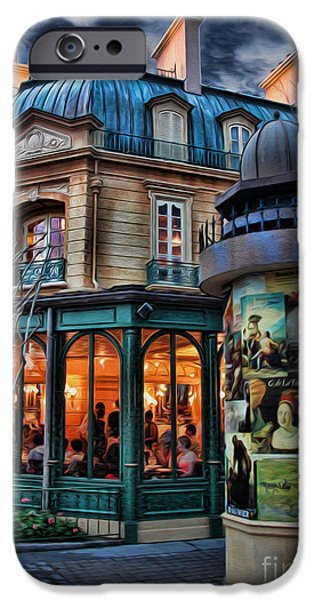 Interior Scene iPhone Cases - Coffeehouse - Belle Soiree Au Cafe II iPhone Case by Lee Dos Santos