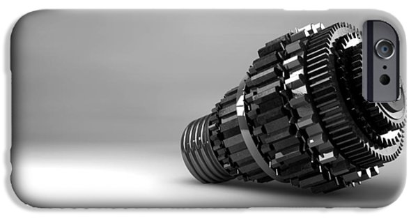 Copy Machine iPhone Cases - Cogwheel Lightbulb Shape Concept iPhone Case by Allan Swart
