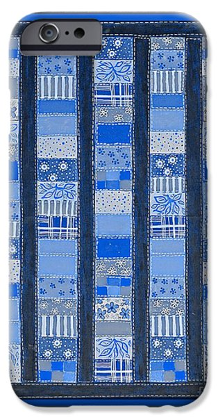 Quilt Blue Blocks iPhone Cases - Coin Quilt -  Painting - Blue Patches iPhone Case by Barbara Griffin