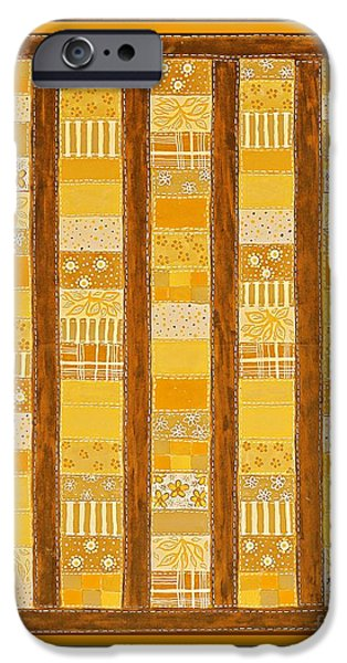 Quilt Blue Blocks iPhone Cases - Coin Quilt -  Painting - Yellow Patches iPhone Case by Barbara Griffin
