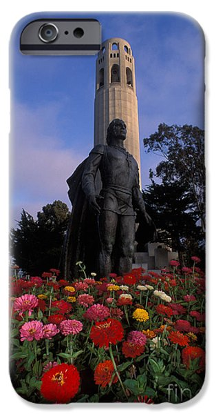 Statue Portrait iPhone Cases - Coit Tower iPhone Case by Ron Sanford