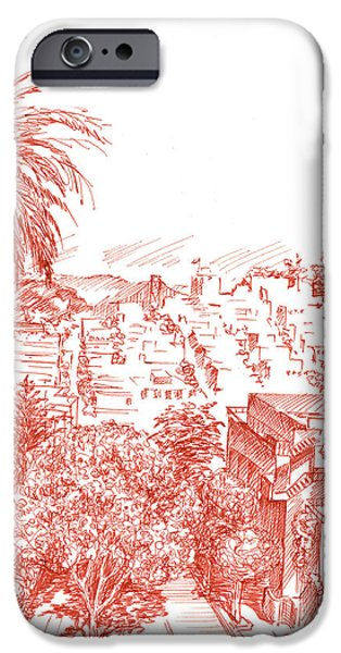 Sepia Ink Drawings iPhone Cases - Coit Tower View From Russian Hill San Francisco iPhone Case by Irina Sztukowski
