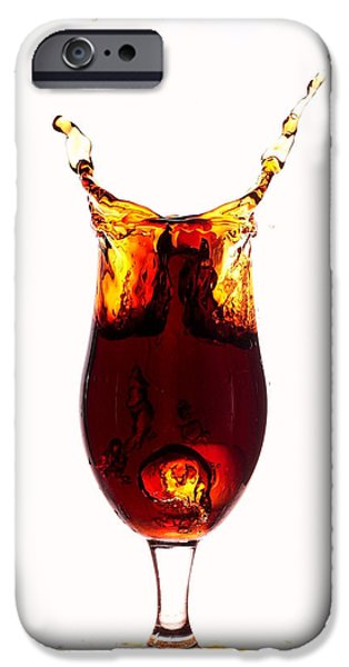 Ice Wine iPhone Cases - Coke splashing in the cup liquid art iPhone Case by Paul Ge