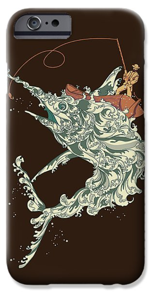 Fishermen iPhone Cases - Cold Blooded Ocean iPhone Case by Budi Kwan