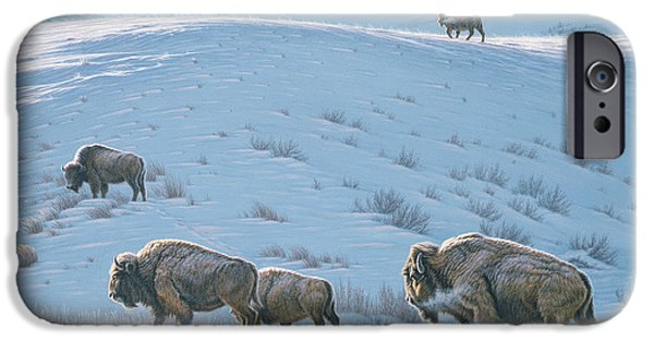 Bison iPhone Cases - Cold Day at Lamar iPhone Case by Paul Krapf