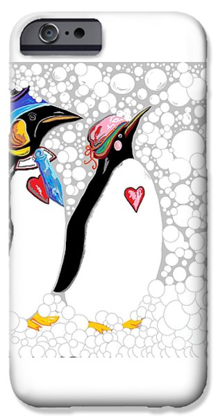 Snowy Day iPhone Cases - Cold Feet Warm Hearts iPhone Case by Eloise Schneider