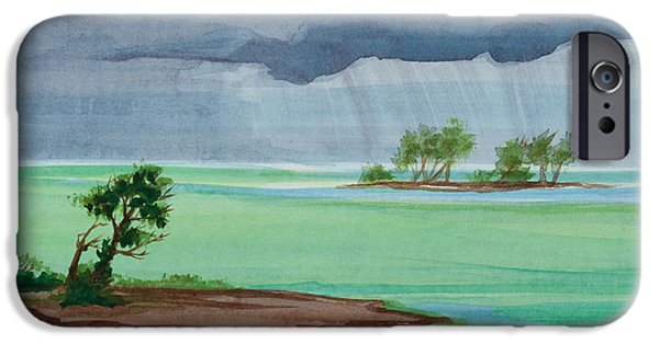 Michelle iPhone Cases - Cold Front in Islamorada Watercolor Painting iPhone Case by Michelle Wiarda