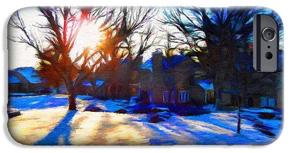 Suburban Digital Art iPhone Cases - Cold Morning Sun iPhone Case by Jeff Kolker