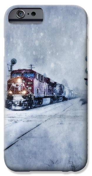 Winter Storm iPhone Cases - Cold Nights On The Midnight Train Color iPhone Case by Theresa Tahara