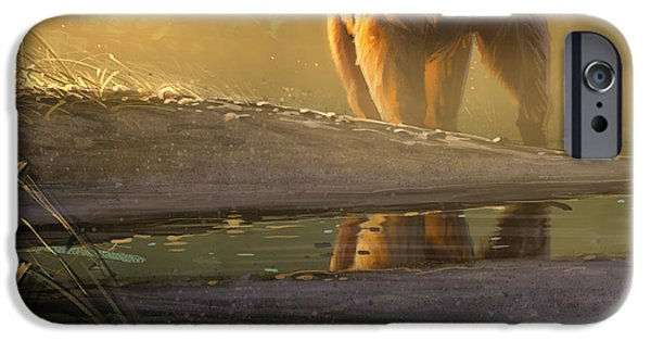 Grizzly iPhone Cases - Cold Sunrise iPhone Case by Aaron Blaise