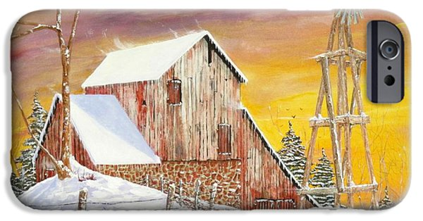 Old Barns iPhone Cases - Coldfront iPhone Case by Michael Dillon
