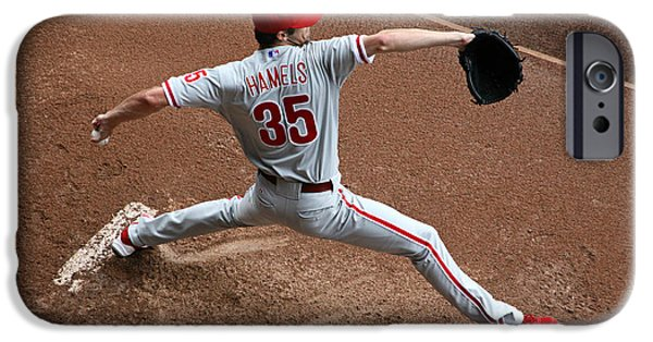 Mounds iPhone Cases - Cole Hamels - Pregame Warmup iPhone Case by Stephen Stookey