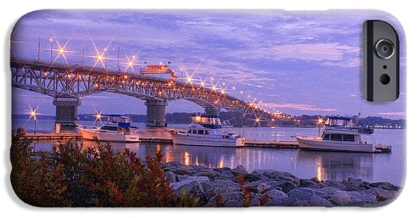 Yorktown Virginia iPhone Cases - Coleman Bridge at Dawn 4 iPhone Case by Olahs Photography
