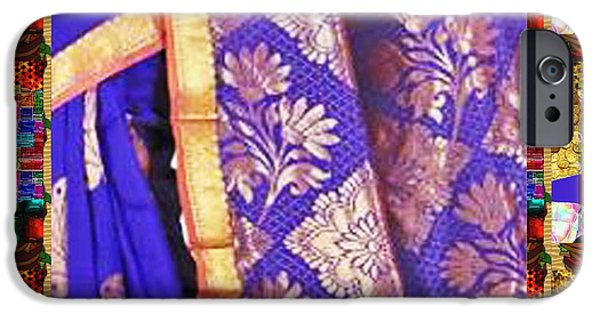 Politician iPhone Cases - Collage Graphic Indian Silk Saree Fabric Border iPhone Case by Navin Joshi