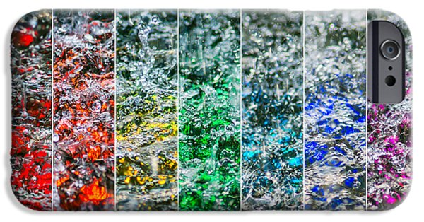 Tile Composition iPhone Cases - Collage Liquid Rainbow 2 - Featured 3 iPhone Case by Alexander Senin