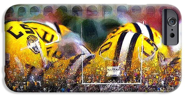 American Football Paintings iPhone Cases - Collage LSU Tigers iPhone Case by John Farr