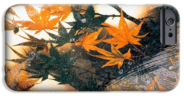 Artistic Photography iPhone Cases - Collage Of Green And Pale Orange iPhone Case by Panoramic Images