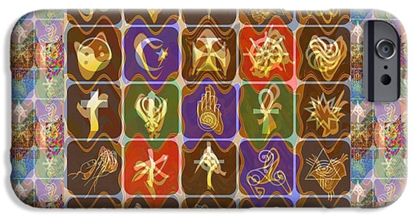 Politician iPhone Cases - Collage Religious Symbols iPhone Case by Navin Joshi