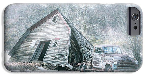 Old Barns iPhone Cases - Collapsed barn and Old truck - Americana iPhone Case by Gary Heller