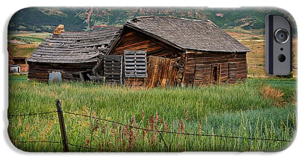 Log Cabin Photographs iPhone Cases - Collapsed Log House in Utah iPhone Case by Louise Heusinkveld
