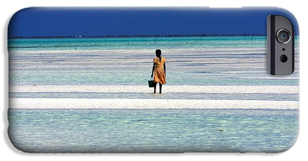 Little Girl iPhone Cases - Collecting Clams In The Indian Ocean iPhone Case by Aidan Moran