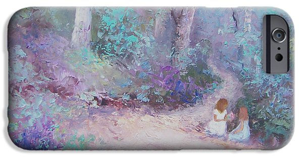 Little Girl iPhone Cases - Collecting wildflowers iPhone Case by Jan Matson