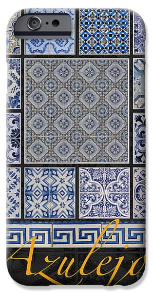 Tile Composition iPhone Cases - Collection of Blue Colored Portuguese Tile-Works iPhone Case by Heiko Koehrer-Wagner