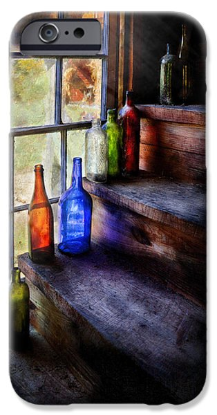 Stairs iPhone Cases - Collector - Bottle - A collection of bottles iPhone Case by Mike Savad