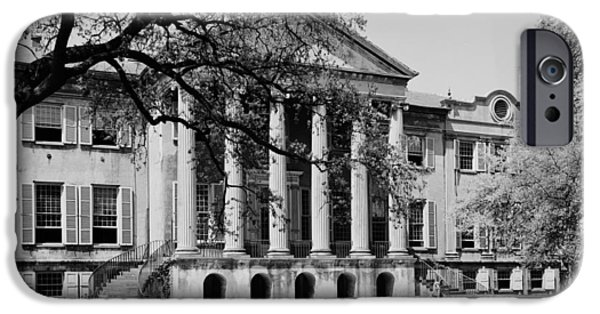 Old Photos iPhone Cases - College of Charleston Main Building 1940 iPhone Case by Mountain Dreams