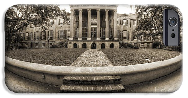 College iPhone Cases - College of Charleston Randolph Hall Cistern Sepia iPhone Case by Dustin K Ryan