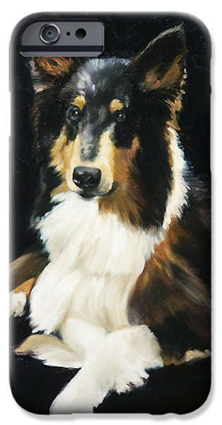 Black Dog iPhone Cases - Collie iPhone Case by Alice Leggett