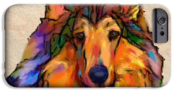 Purebred Digital Art iPhone Cases - Collie iPhone Case by Marlene Watson