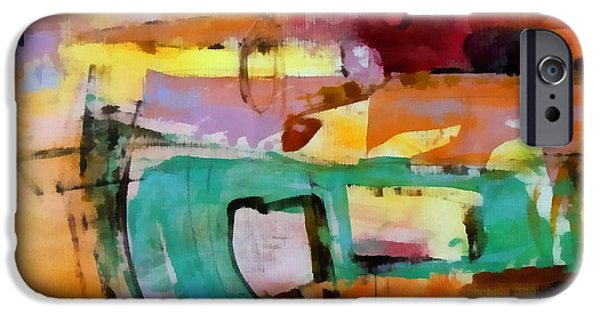 Concept Design Paintings iPhone Cases - Collision iPhone Case by Katie Black