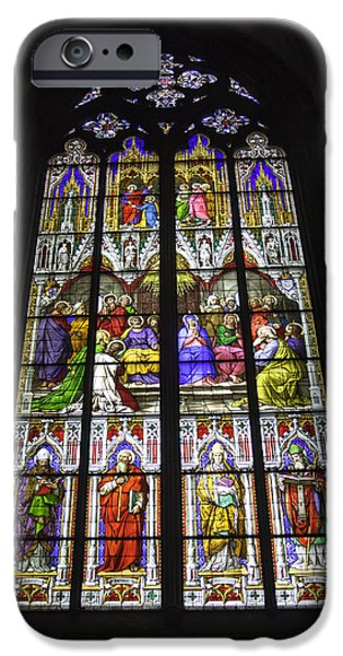 Pentecost iPhone Cases - Cologne Cathedral Stained Glass Window of Pentecost iPhone Case by Teresa Mucha
