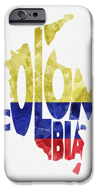 Abstract Map Digital Art iPhone Cases - Colombia Typographic Map Flag iPhone Case by Ayse Deniz