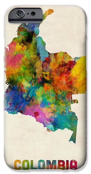 Urban Art iPhone Cases - Colombia Watercolor Map iPhone Case by Michael Tompsett
