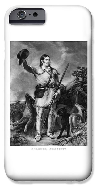 American Revolution iPhone Cases - Colonel Davy Crockett iPhone Case by War Is Hell Store