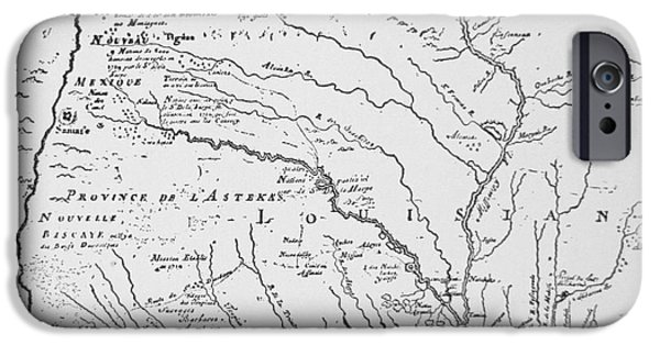 Cartography iPhone Cases - Colonial America Map of Louisiana New  France iPhone Case by French School