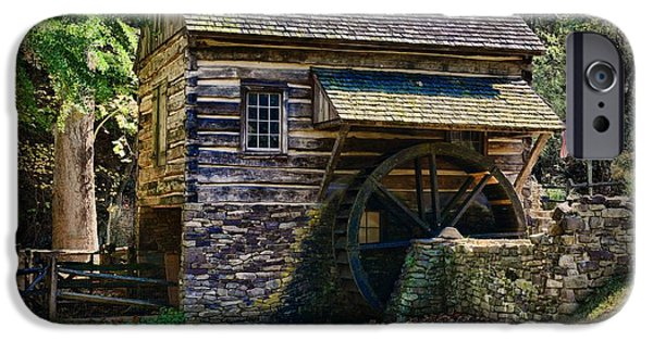 Log Cabin Interiors iPhone Cases - Colonial Grist Mill iPhone Case by Paul Ward