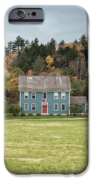 Red Door iPhone Cases - Colonial Home iPhone Case by Edward Fielding