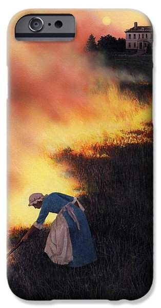 Flames Paintings iPhone Cases - Colonial Woman Burning Fields iPhone Case by Rob Wood