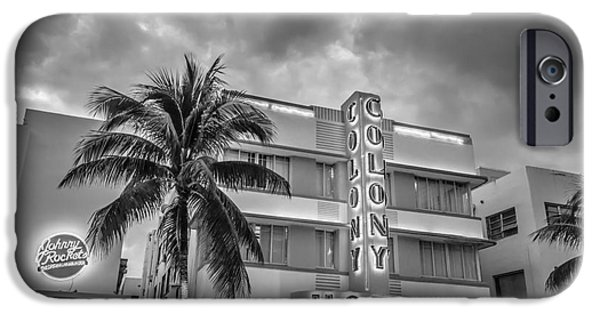 Monochrome iPhone Cases - Colony and Johnny Rockets Art Deco District SOBE Miami - Black and White iPhone Case by Ian Monk