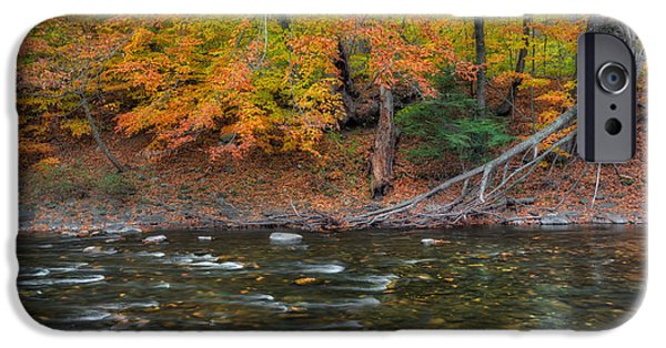 Litchfield County Landscape iPhone Cases - Color Along the Shepaug iPhone Case by Bill  Wakeley