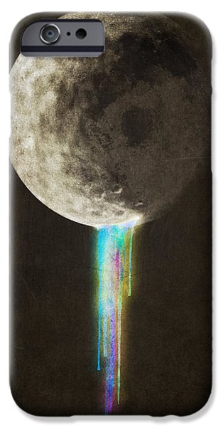 Moon Drawings iPhone Cases - Color Bleed iPhone Case by Eric Fan