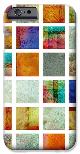 Color Block collage abstract art iPhone Case by Ann Powell