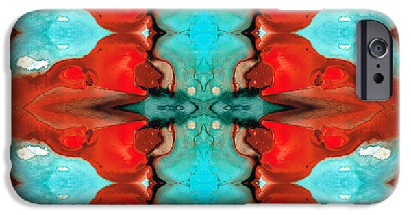 Buddhism iPhone Cases - Color Chant - Red and Aqua Pattern Art By Sharon Cummings iPhone Case by Sharon Cummings