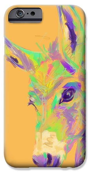 Donkey Digital Art iPhone Cases - Color Donkey iPhone Case by Go Van Kampen