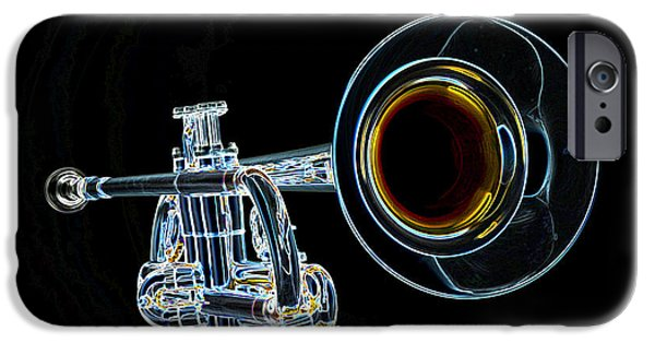 Business Drawings iPhone Cases - Color Drawing of a Trumpet Bell Isolated 3018.05 iPhone Case by M K  Miller