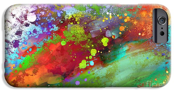 Abstract Expressionist iPhone Cases - Color Explosion abstract art iPhone Case by Ann Powell
