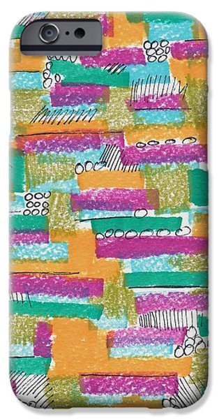 Abstract Collage Drawings iPhone Cases - Color Grid iPhone Case by Rosalina Bojadschijew
